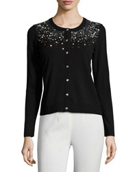 Milly Gemstone Degrade Button Front Cardigan Black
