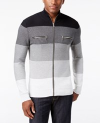 Inc International Concepts Men's Copperfield Striped Zip Front Sweater Only At Macy's Deep Black