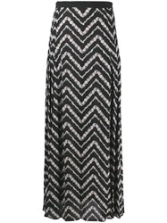 Twin Set Chevron Maxi Skirt Black