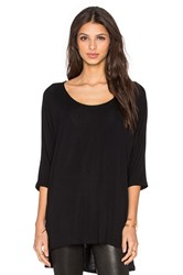 Michael Stars Side Slit Elbow Sleeve Tunic Black