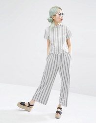Monki Stripe Wide Leg Trouser Off White Multi