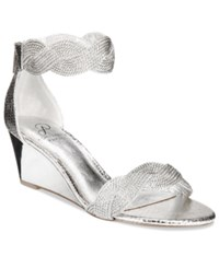 Adrianna Papell Adelaide Ankle Strap Wedge Evening Sandals Women's Shoes Silver