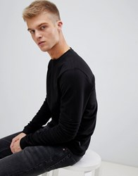 D Struct Ribbed Biker Crew Neck Sweat Black