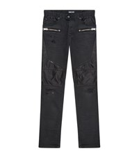 Just Cavalli Distressed Zip Detail Skinny Jeans Male Black