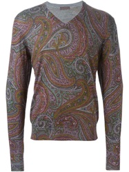 Etro Floral Paisley Sweater Green