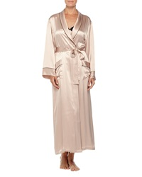 Neiman Marcus Contrast Trim Long Silk Robe Brulee
