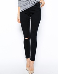 Asos Jameson Low Rise Denim Jeggings In Washed Black With Ripped Knee Washedblack