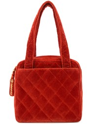 Chanel Vintage Diamond Quilted Tote Bag Red