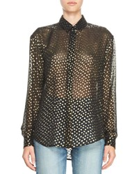 Saint Laurent Metallic Polka Dot Chiffon Blouse Black Gold Black Gold