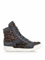 Balmain Calf Hair And Leather High Top Trainers