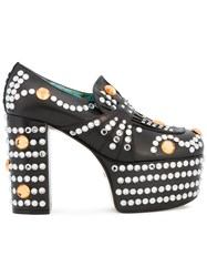 Gucci Crystal Studded Platform Loafer Pumps Women Leather Plastic 39.5 Black