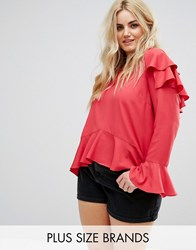 Alice And You Top With Ruffle Layers In Sheer Fabric Red