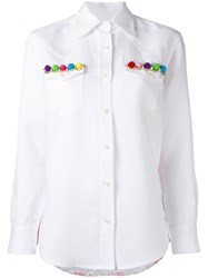 Forte Couture Thelma Embellished Shirt Women Cotton Linen Flax Polyester 40 White