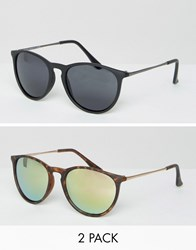 Asos 2 Pack Skinny Keyhole Retro Round Sunglasses Matt Black And Tort And Pink Flash Lens Multi