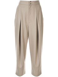 Y's Wide Leg Pleated Trousers Neutrals