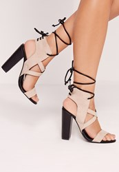 Missguided Cross Strap Lace Back Block Heeled Sandals Nude Grey