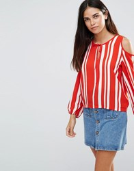 Tfnc Striped Top With Cold Shoulder Detail Red White