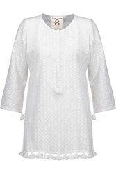 Figue Ella Tasseled Fil Coupe Cotton And Silk Blend Tunic White