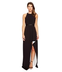 Halston Sleeveless High Neck Color Blocked Gown W High Low Skirt Black Chalk Women's Dress
