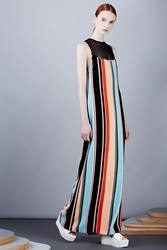 Opening Ceremony Vertical Stripe Scoop Neck Maxi Dress Coral Multi