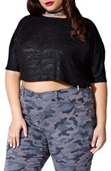 Mblm By Tess Holliday Plus Size Women's Foil Print Crop Top