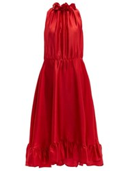 Msgm Ruffle Trimmed Charmeuse Dress Red