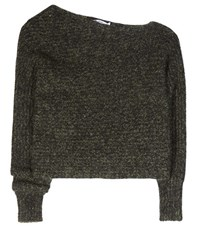 Alexander Wang Cotton And Mohair Blend Asymmetrical Sweater Green