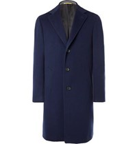 Canali Kei Wool And Cashmere Blend Coat Navy