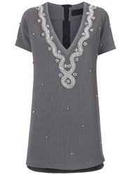 Andrea Bogosian Strass Embellished T Shirt Dress Grey