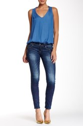 Grace In La Denim Teal Stone Skinny Fit Jean Blue