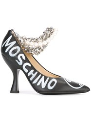 Moschino Chain And Pearl Embellished Pumps Black