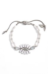 Women's Kent And King Crystal Cluster Bracelet White Silver
