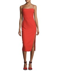 Cinq A Sept Cairen Side Slit Slip Dress Red