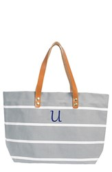 Cathy's Concepts Monogram Stripe Tote Grey