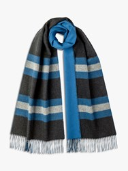 Johnstons Of Elgin Cashmere Merino Reversible Stripe Scarf Charcoal Blue