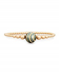 Riviere And Co. Beaded Bracelet In 18K Rose Gold With Diamond Striped Pearl