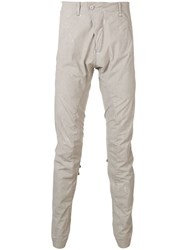 Masnada Slim Fit Gathered Trousers Neutrals
