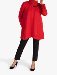 Chesca Cable Knit Collar Coat Ruby
