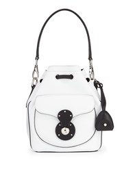 Ralph Lauren Ricky Small Bicolor Leather Bucket Bag White Black