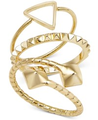 Abs By Allen Schwartz Gold Tone Trio Set Of Pyramid Rings