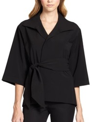 Josie Natori Bi Stretch Belted Jacket Black