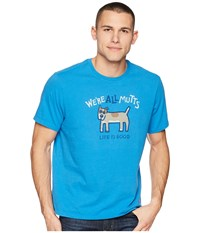 Life Is Good We're All Mutts Smooth Tee Marina Blue T Shirt