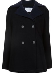 Harris Wharf London Double Breasted Peacoat Black