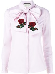 Gucci Embroidered Oversized Bow Shirt Pink And Purple