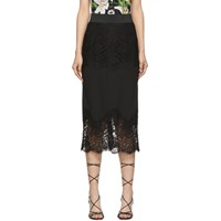 Dolce And Gabbana Black Lace Midi Skirt