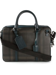 Burberry 'Smoked Check' Briefcase Brown
