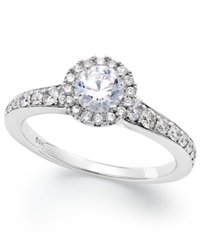 Macy's 14K White Gold Diamond Halo Engagement Ring 1 Ct. T.W.