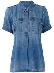 Equipment Denim Pullover Shirt Women Cotton Xs Blue