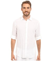 Perry Ellis Rolled Sleeve Solid Linen Shirt Bright White 1 Men's Clothing