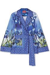 F.R.S For Restless Sleepers Giocasta Printed Silk Twill Wrap Top Blue